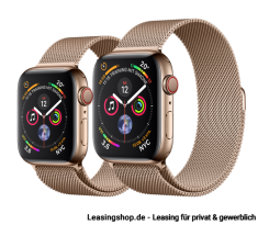 Apple Watch Series 4 GPS + Cellular mit 40mm oder 44mm, Edelstahl Milanaise Gold leasen