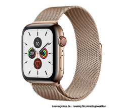 Apple Watch Series 5 GPS + Cellular mit 40mm oder 44mm, Edelstahl Milanaise Gold leasen